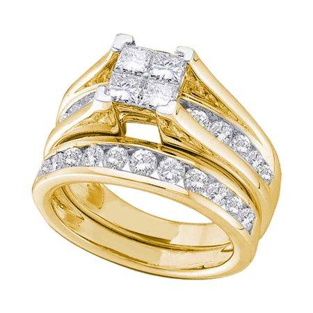 10kt Yellow Gold Womens Princess Diamond Bridal Wedding Engagement Ring Band Set (.50 cttw.)