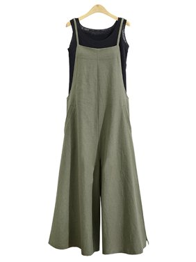 Women Long Suspender Bib Casual Loose Solid Jumpsuit