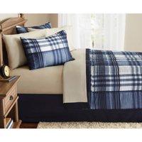 Mainstays Indigo Plaid Bed-in-a-Bag Complete Bedding Set