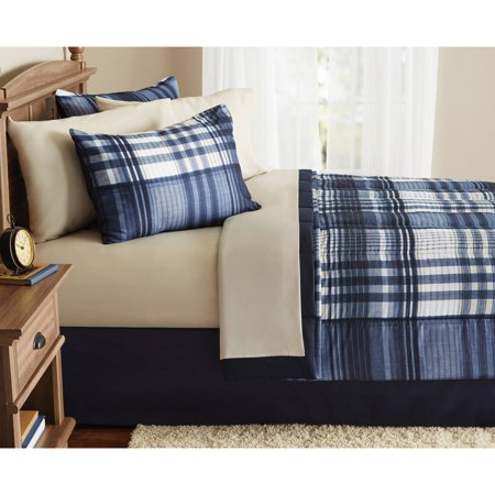 Collection Bed Complete Set (Mainstays Indigo Plaid Bed in a Bag Complete Bedding )