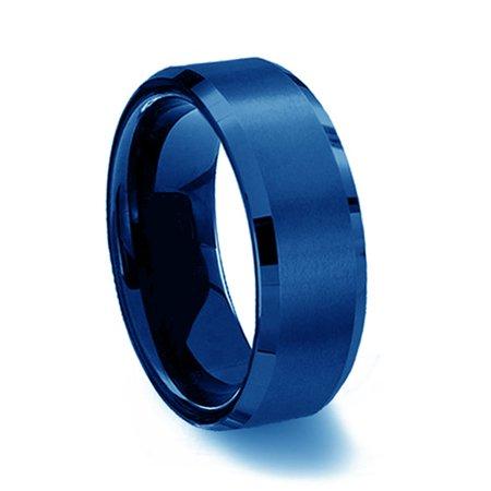 Gemini His or Her Blue Comfort-Fit Beveled Edge Plain Wedding Band Ttianium Ring Valentine