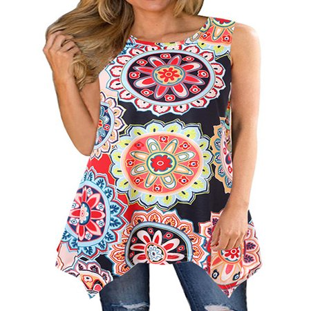 711ONLINESTORE Women Floral Printed Sleeveless Irregular Hem Tunic Blouse ()