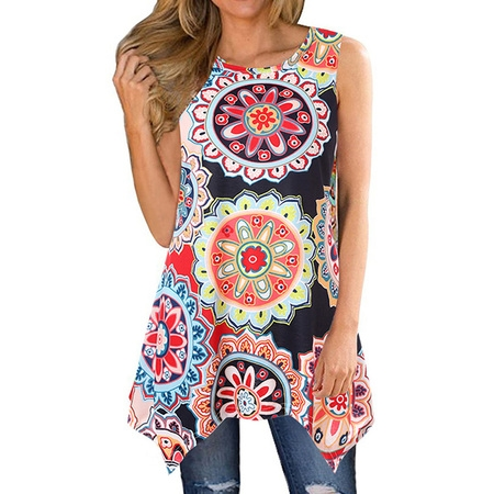711ONLINESTORE Women Floral Printed Sleeveless Irregular Hem Tunic Blouse - Firefighter Tunic