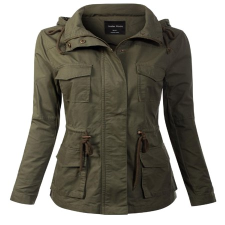 Suede Utility Jacket (Made by Olivia Women's Solid Drawstring Zipper Front Closure Cargo Utility Anorak Jacket Olive S )