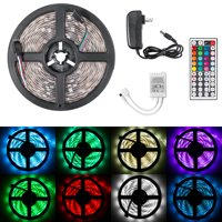 16.4ft LED Flexible Strip Lights, 150 Units SMD 5050 LEDs, Non-Waterproof 12V DC Light Strips, RGB LED Light Strip Kit with 44Key Remote Controller and Power Supply for Kitchen Bedroom Car Bar