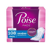 Poise Incontinence Pads for Women, Moderate Absorbency, Long, 108 Ct