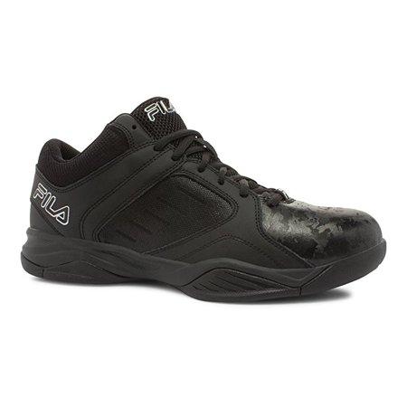 Low Top Basketball Shoes (Fila BANK Mens Black Low Top Athletic Basketball Sneakers Shoes )