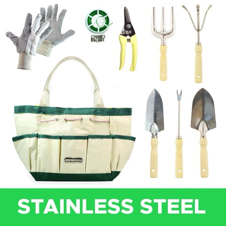 GardenHOME 9-Piece Garden Tools with Canvas Storage Tool Set Tote and Gardening (Gardening)