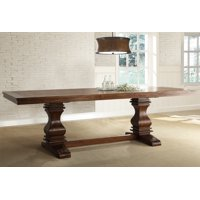 """Weston Home Marie Louise Extendable Trestle Base Dining Table with 18"""" Leaf"""