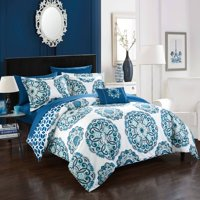 Chic Home 8-Piece Catalonia Super soft microfiber Large Printed Medallion Reversible with Geometric Printed Backing Bed in a Bag Comforter Set, King, Blue Includes Sheets