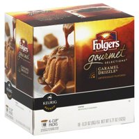 Keurig Hot Folgers Caramel Drizzle Artificially Flavored Coffee, 0.31 oz, 18 count