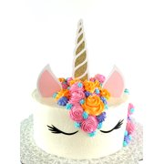 Handmade Unicorn Birthday Cake Topper Decoration With Horn Ears And Eyes