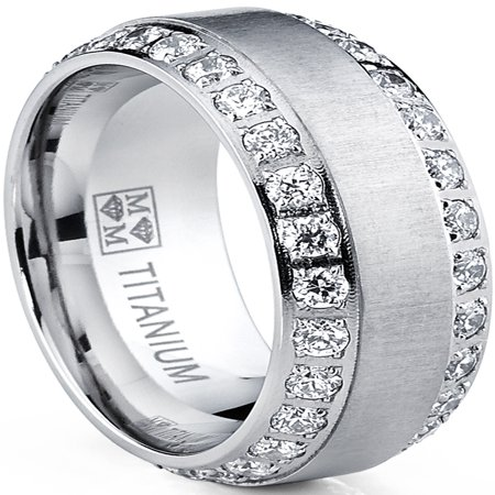 Men's Titanium Dome Brushed Finished Wedding Band Engagement Ring with Cubic Zirconia,