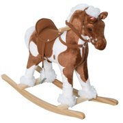 Qaba 24 Plush Ride On Rocking Horse With Sound