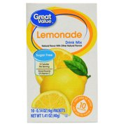Great Value Sugar-Free Lemonade Drink Mix, 0.14 Oz., 10 Count