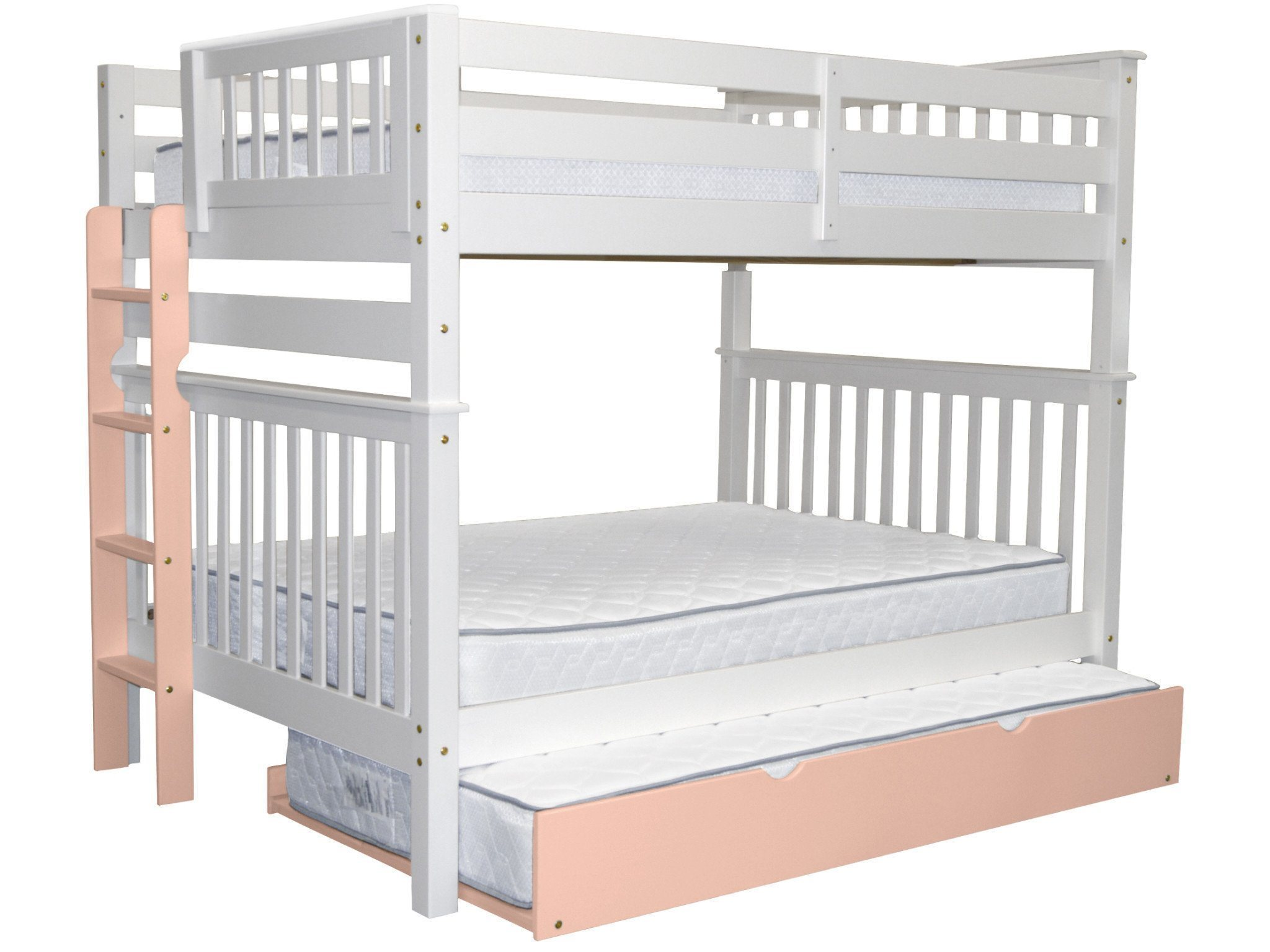 Bedz King Bunk Beds Full over Mission Style with a Pink End Ladder and