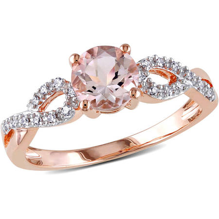 4/5 Carat T.G.W. Morganite and Diamond-Accent 10kt Rose Gold Infinity Engagement Ring](Glowing Engagement Ring)