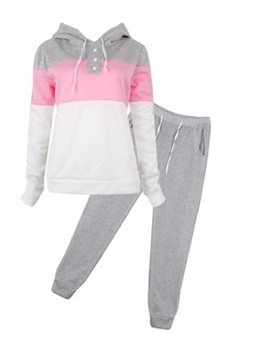 Black Friday Clearance! Gray Womens 2 Piece Outfits Long Sleeve Sweatshirt and Pants, Sports Joggers Sweatsuits Set Tracksuits for Women, Casual Pullover Hoodie Sweatpants Gift for Juniors, S-XL