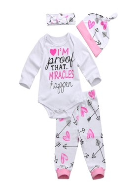 Details about   4x Pink Toddler Newborn Baby Girls Romper+Pants Miracles Happen Clothes Outfits