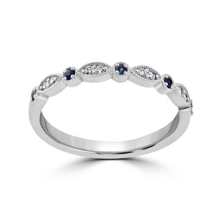 1/5 ct Blue Sapphire & Diamond Wedding Ring Stackable Band 10k White Gold Heated ()