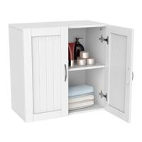 """Home Wooden Bathroom Wall Cabinet Toilet Medicine Storage Organizer, White, 23""""x23"""""""