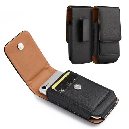 [World Acc] Premium PU Leather Pouch Holster Belt Clip Case For Samsung Galaxy Halo / J7 Perx / J7 Prime / J7 Sky Pro / J7 V (Premium Vertical Black/Brown PU Leather Pouch) Blackberry Leather Vertical Pouch