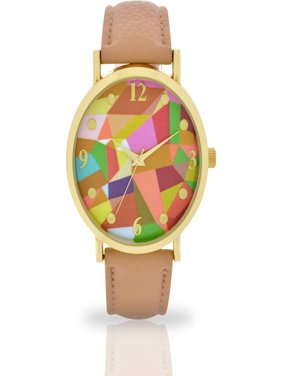 Women's Beige Abstract Dial Watch, Faux Leather Band