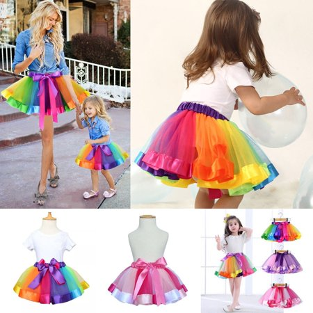 Newest Fashion Women Girls Tutu Skirt Tulle Dance Ballet Dress Rainbow Costume Dress Multicolor