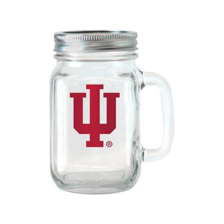NCAA 16 oz Indiana Hoosiers Glass Jar with Lid and Handle, (Indiana Hoosiers Glass)