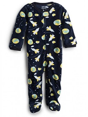 Elowel Baby Boys Footed Space Rocket Pajama Sleeper Fleece 12-18 Months