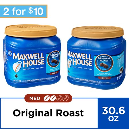 - (2 Pack) Maxwell House Original Blend Ground Coffee, Medium Roast, 30.6 Ounce Canister