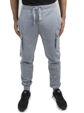 Vibes Gold Label Mens Grey Fleece Moto Cargo Jogger Pants Rib Waist Cuff