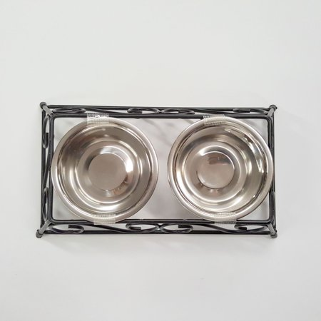 Stainless Steel Pet Food Bowl, Double Diner