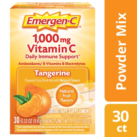Emergen-C Vitamin C Drink Mix, Tangerine, 1000mg, 30