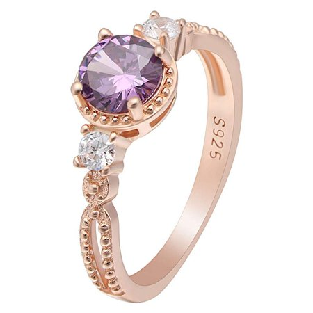 Ginger Lyne Collection Alexandra Rose Gold Over Sterling Silver Purple CZ February Birthstone Engagement Ring