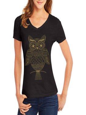 Women's Short-Sleeve V-Neck Graphic T-Shirt