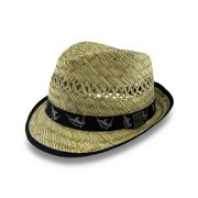 Guy Harvey 50 s Style Straw Fedora Hat W  Black Marlin Band ddf1828e972e