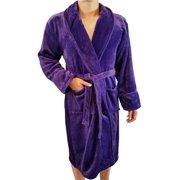 FASCIINO Men's Full Length Shawl Collar Velour Microfiber Fleece Bathrobe Spa Robe