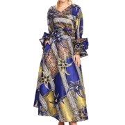 fdad1de19 Sakkas Tale Women's Maxi Long Sleeve Wrap Dress with Pockets African Ankara  Print - 118-
