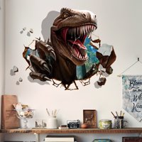 Outgeek Wall Stickers Waterproof Removable Creative 3D Dinosaur Raid Decorative Stickers Wall Decals Mural Stickers for Kids Room Bedroom Living Room TV Background Window Decor