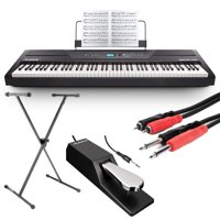 Alesis Recital Pro 88-Key Digital Piano with Hammer-Action Keys + On Stage Keyboard Stand + Piano Style Pedal + Hosa CPR-202 Dual ¼ inch Interconnect Cable – Top Value Perfect Gift ALESIS PIANO BUNDLE