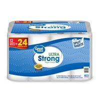 Great Value Paper Towels, Split Sheets, 12 Double Rolls