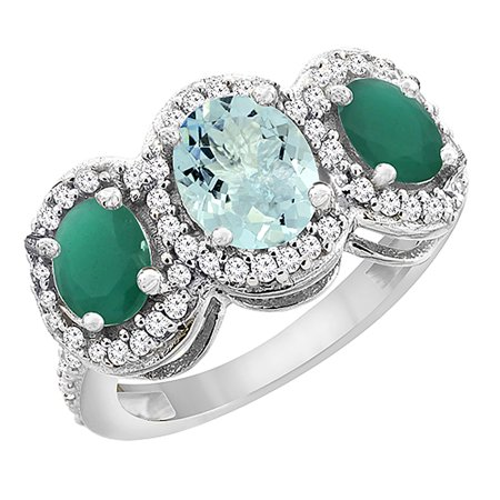 10K White Gold Natural Aquamarine & Emerald 3-Stone Ring Oval Diamond Accent, size (Natural Aquamarine Emerald)