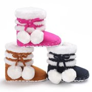 Lovely Pompom Design Baby Girl Warm Boots Snow Slippers Infant Toddler Winter Shoes 1pcs