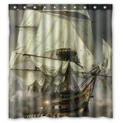 GCKG Cool Pirate Ship Bathroom Shower Curtain Rings Included 100 Polyester Waterproof