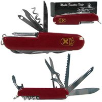 Whetstone 13 Function Swiss Type Army Knife, Red