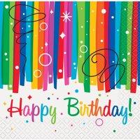 Rainbow Birthday Party Beverage Napkins, 16ct