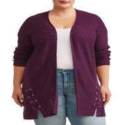 Women's Plus Size Open Front Cardigan with Lace Up Grommets