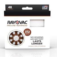 Rayovac Proline Size 312 Hearing Aid Batteries, 48 Batteries