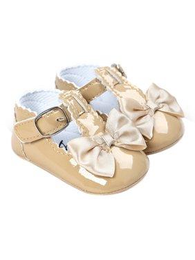 Babula Newborn Baby Girl Bling Bowknot Anti-Slip Crib Shoes